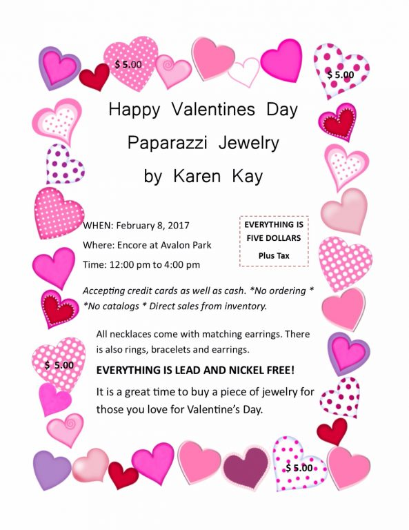 Happy valentines day paparazzi jewelry encore at avalon for Valentines jewelry dallas pa